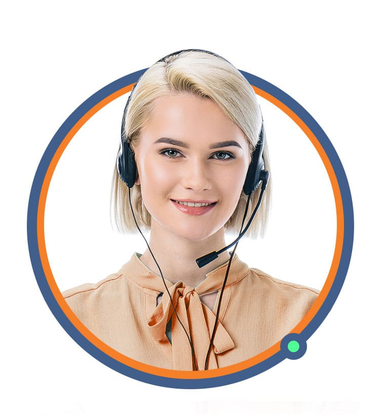 A white blonde smiling woman with green eyes and in an orange blouse with a headset, looking at the camera.